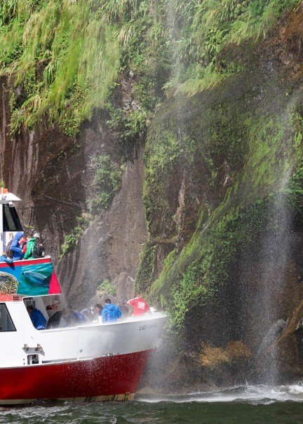 Lady Bowen gets under Fairy Falls on Milford Sound Encounter Nature Cruise2
