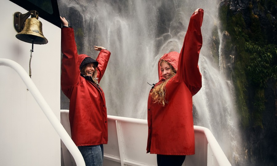 Enjoy waterfalls on Mlford Sound Encounter Nature Cruise v3