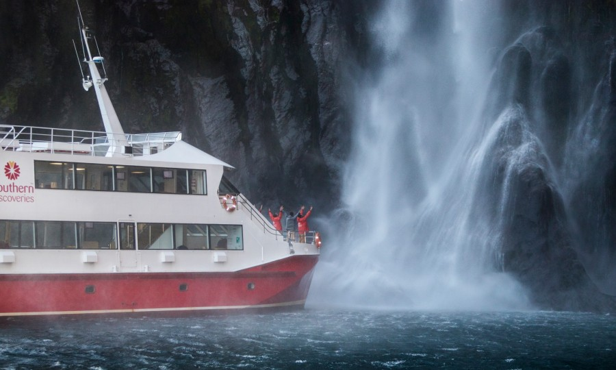 Feeling the full force of Stirling Falls on Milford Sound Nature Cruise v2