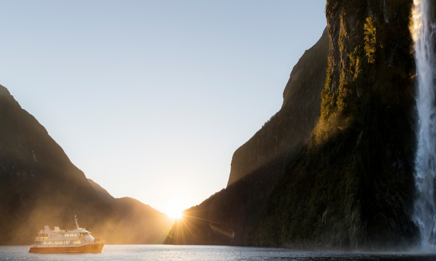 The sun sets on our Nature Cruise in Milford Sound